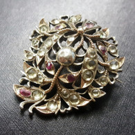 c.1830 Rose Cut Jargoon & Ruby Silver Brooch With Gold Accents