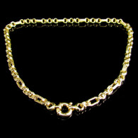 18ct Gold Fancy 6mm Link Necklace with Oversize Señorita Clasp 22.4 Grams