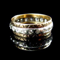 Vintage 1960 9ct Gold 2 Tone Eternity Ring, Full Hallmarks. Size O/P