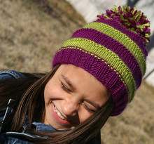 Pom Pom Striped Hat