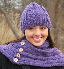 Heather Cable Hat and Scarf