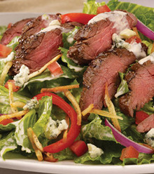 Marinated sirloin steak chargrilled served over salad and garlic sauce.