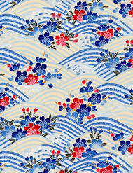 Hanko Designs Blue Floral Waves Washi paper