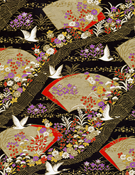 Elegant Golden Fans and Swans Washi