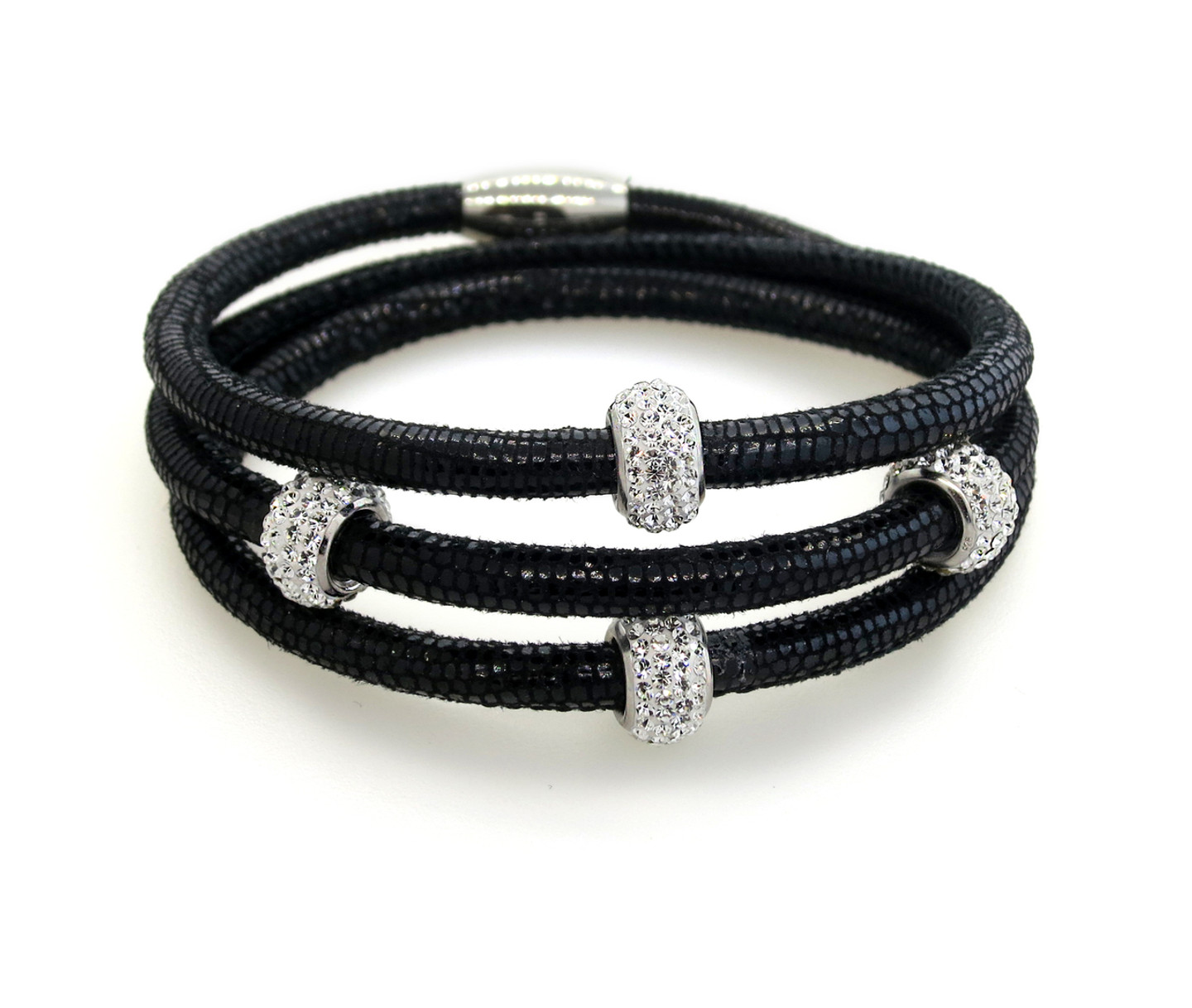 Black Standout in Snake-Triple Wrap Rich Braided Leather Bracelet-Snake Print 4 Sterling Silver CZ Beads. Magnetic Clasp.