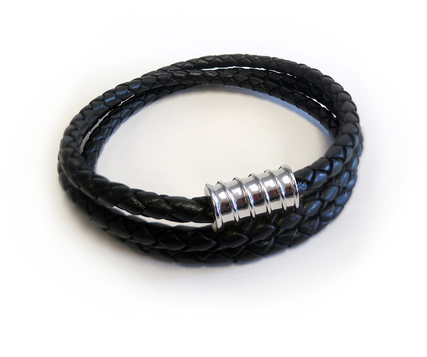 Men Leather Triple Wrap Silver Screw