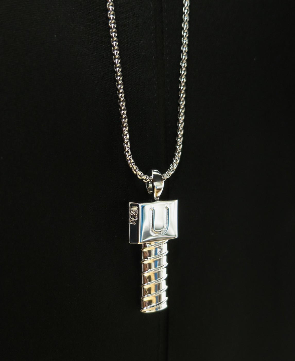 Men Screw U Silver Necklace