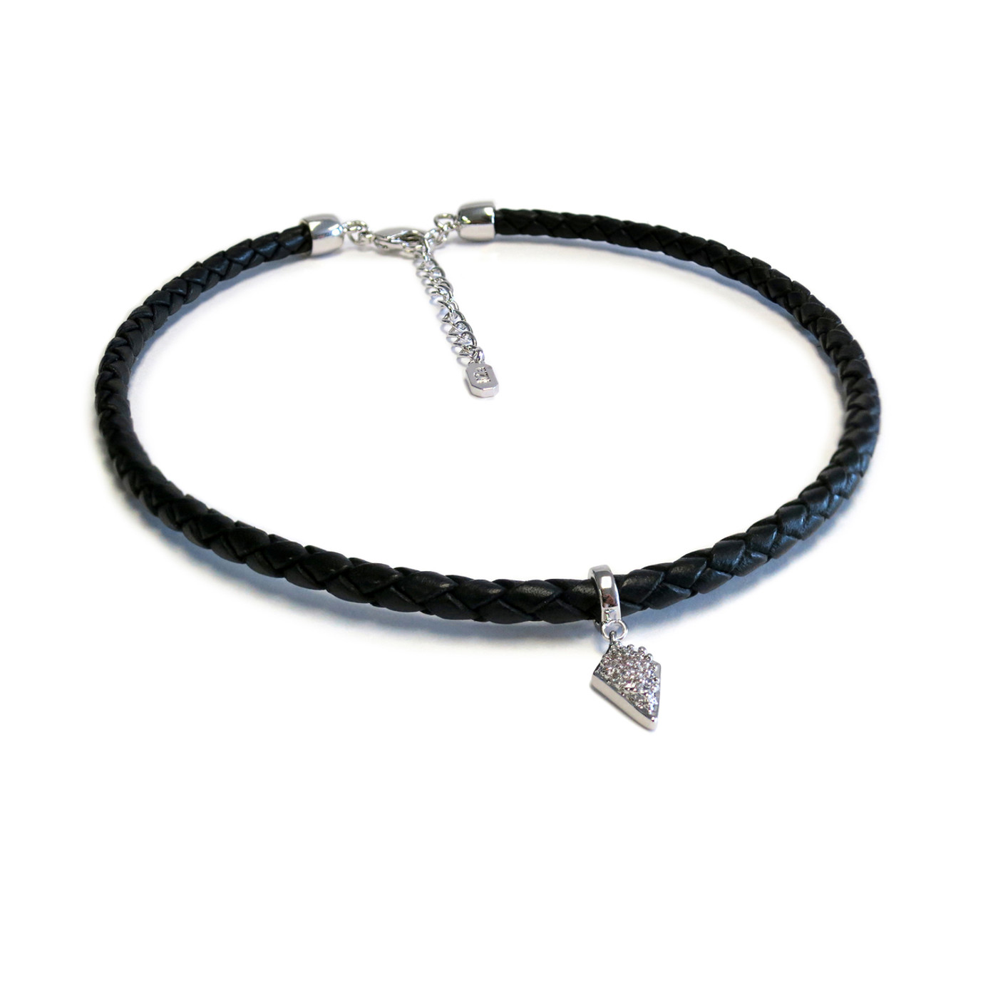 Silver Spike Leather Choker