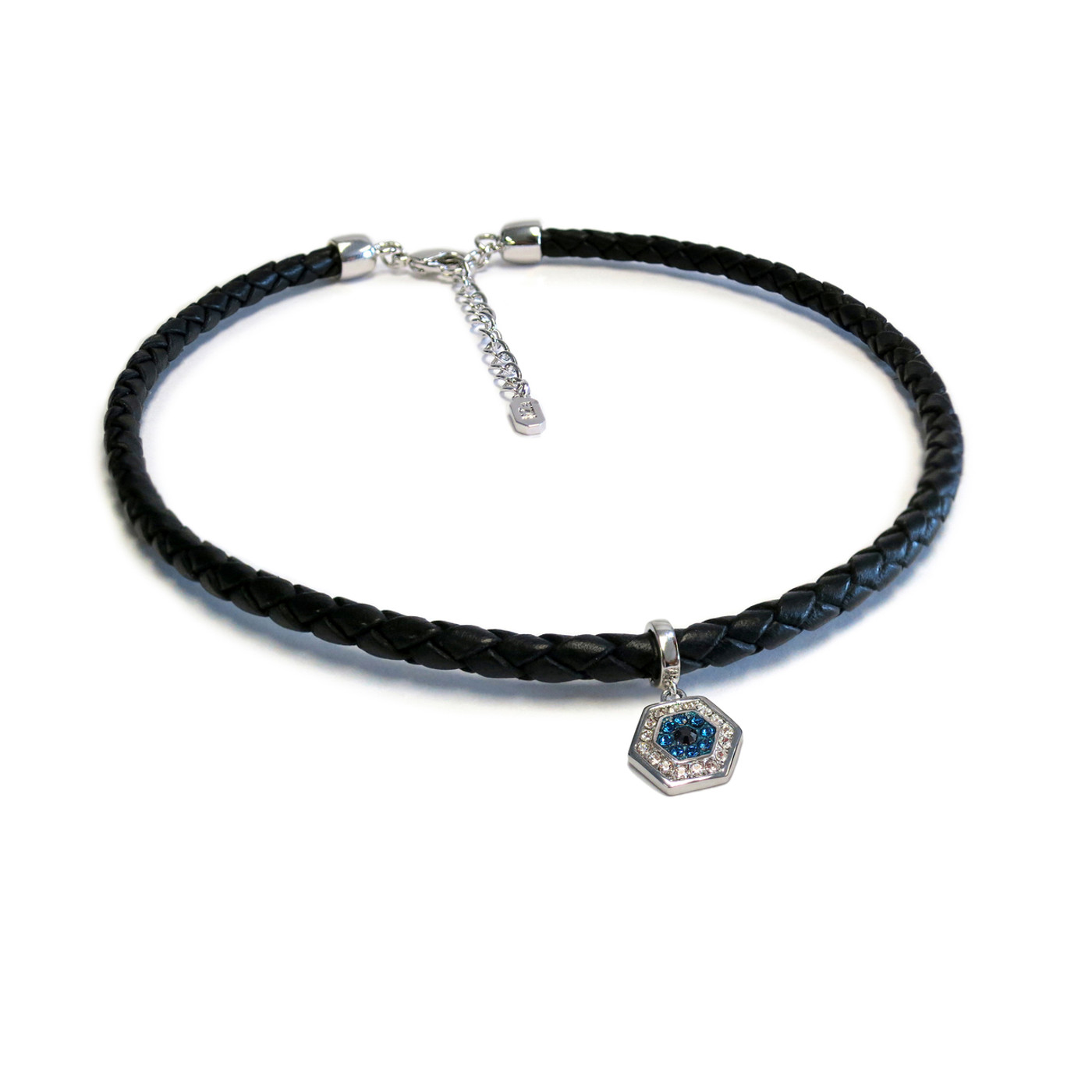 Silver Evil Eye Leather Choker
