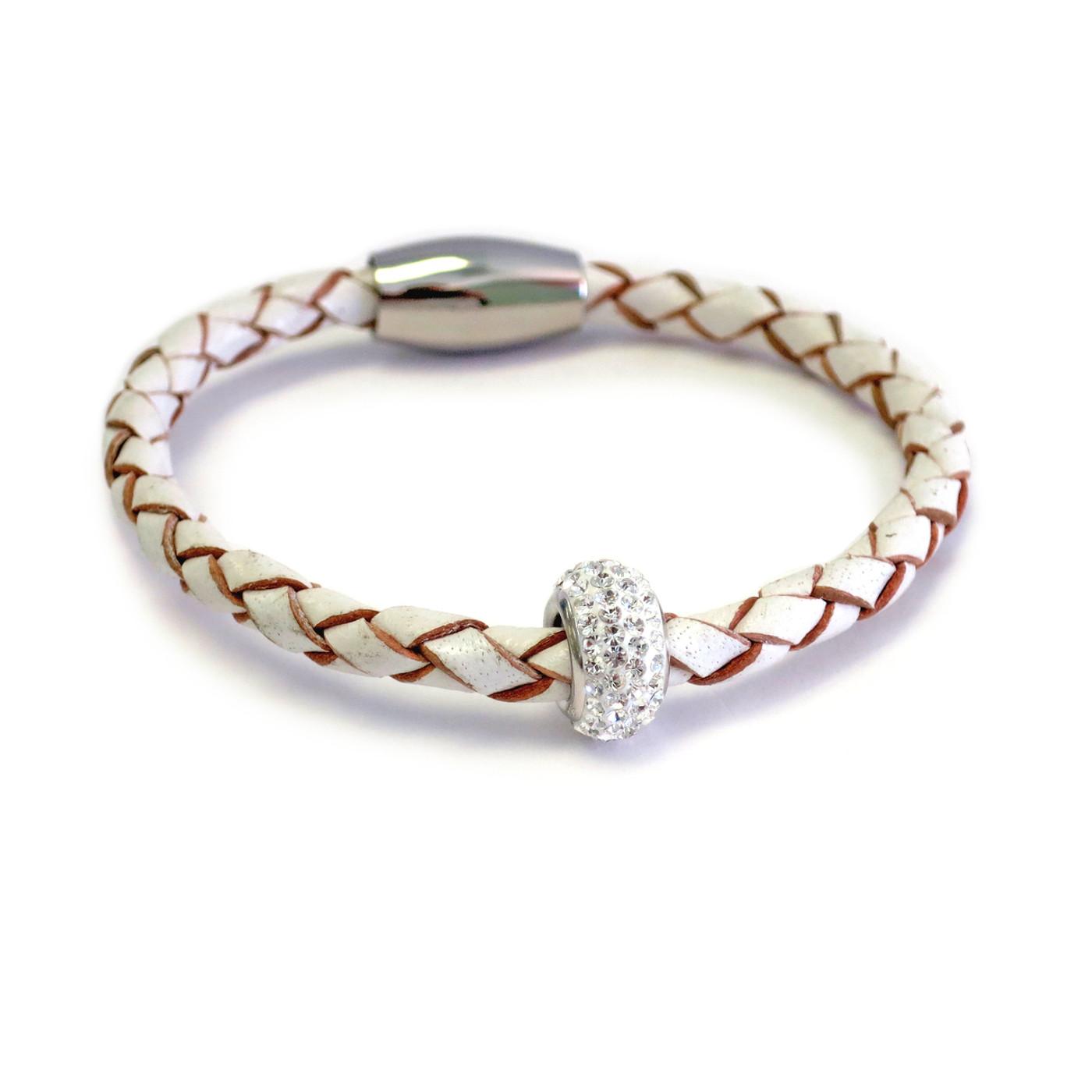 Kids White  Bedazzle Leather Bracelet