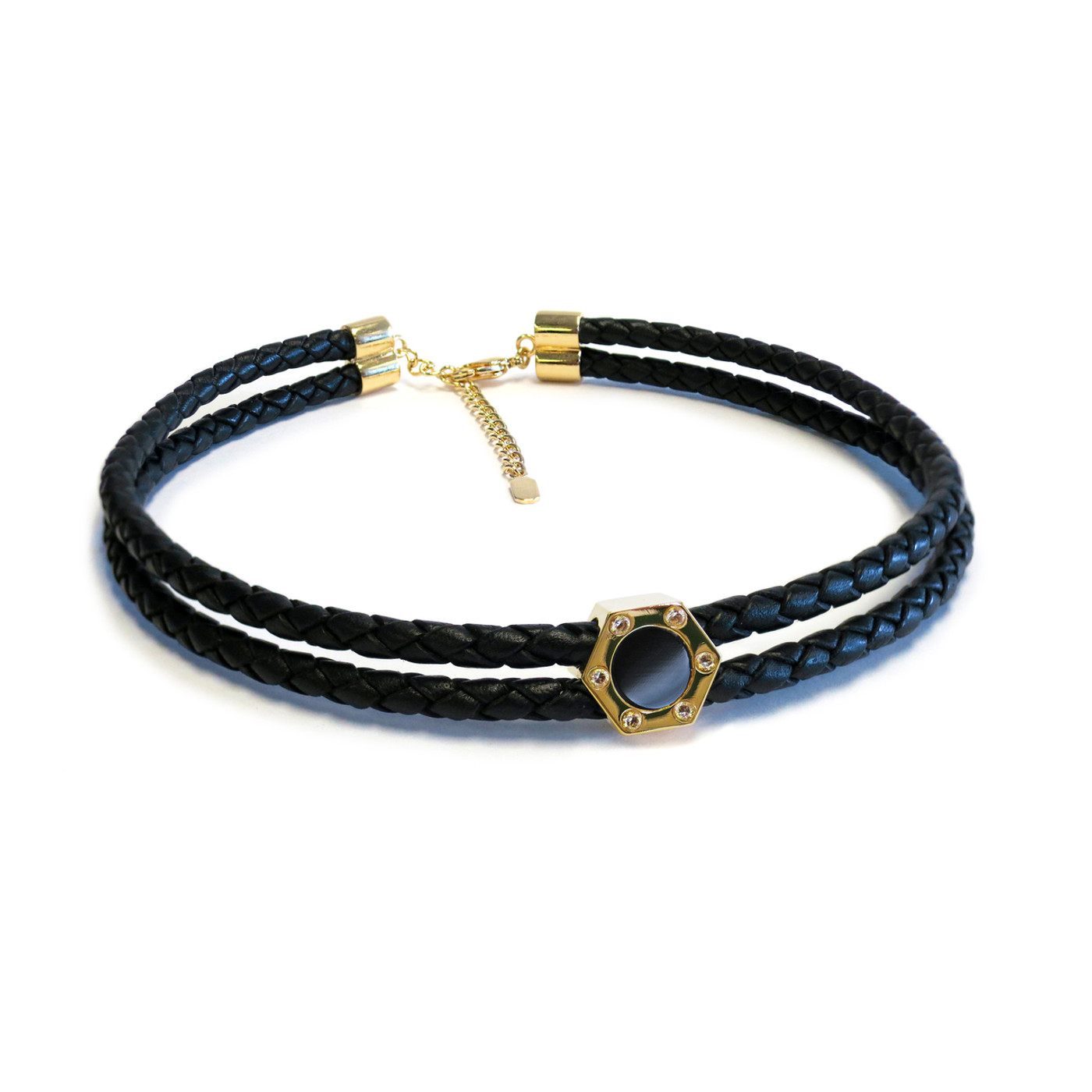 Monte Carlo Onyx Gold Leather Choker