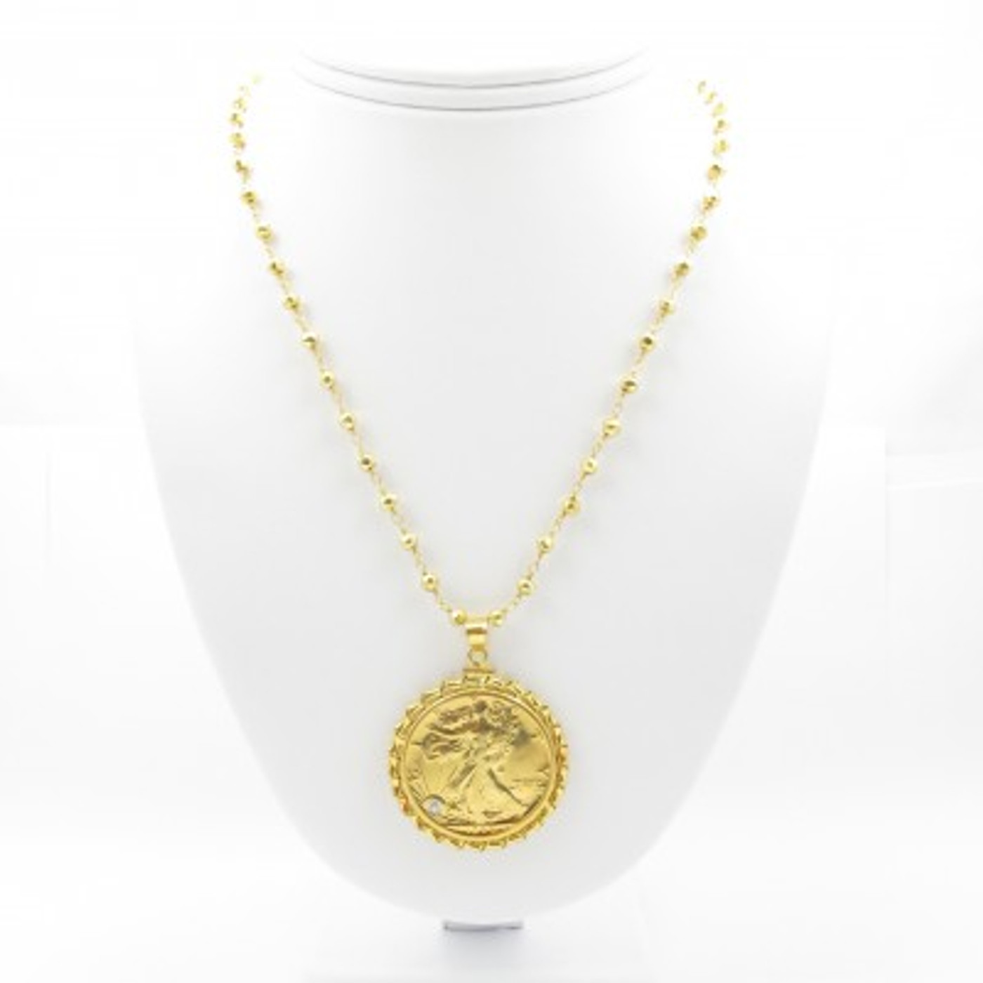 Gold Lady Liberty Necklace  Diamond
