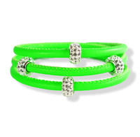 This triple wrap bracelet is not only made with Nappa which is one of the finest leathers, it is Neon in color.  You stand out with color and class. This product is unique creation of Liza Schwartz Jewerly