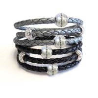 Great mix of Pearls with Evil Eye - Triple Wrap Rich Braided Leather Bracelet 2 Fresh Water Pearls with CZ, 2 CZ Beads Magnetic Clasp.  More colors available.