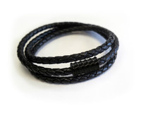 Men Leather Triple Wrap Black Screw