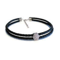 Silver Pave Nut Double Leather Choker