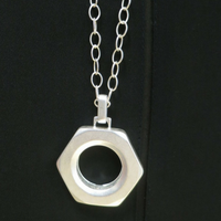 Nut and Bolt Necklace Silver Matte