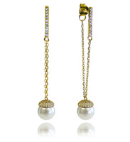 Champagne Pearl  Gold Earrings