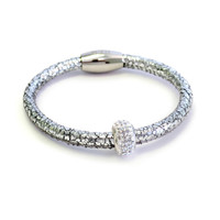 Metallic Silver Kids Leather Bracelet
