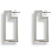 Frame Hoop Earrings Silver