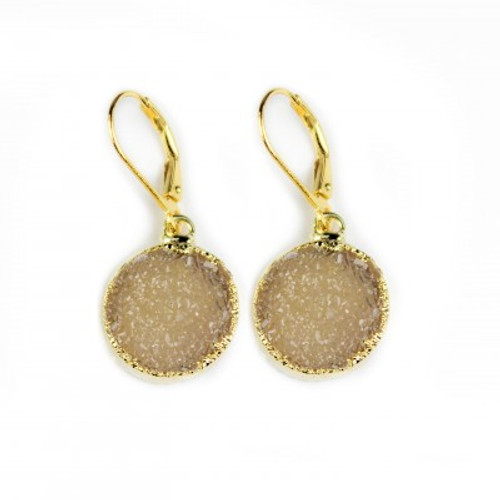 Gold Druzy Circle Moon Earring