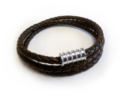 Men Triple Wrap Silver Screw Brown