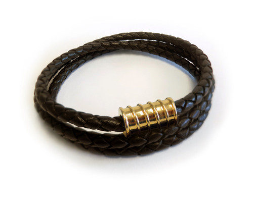 Men Triple Wrap Gold Screw Brown