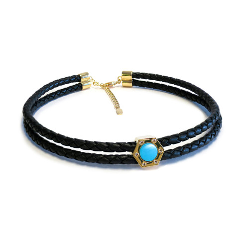 Monte Carlo Aqua Gold Leather Choker
