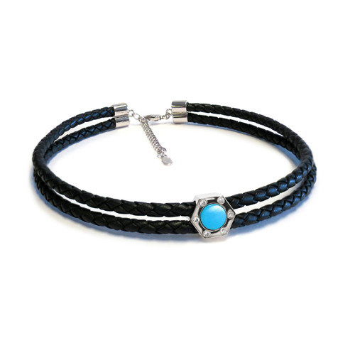 Monte Carlo Aqua Silver Leather Choker