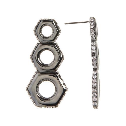 Gunmetal Nut Drop Earrings