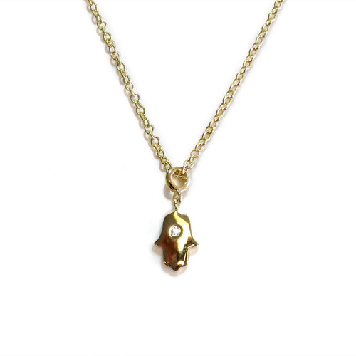 Delicate Hamsa Necklace Gold