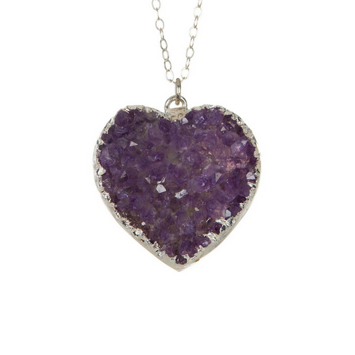 Purple Druzy Heart Necklace