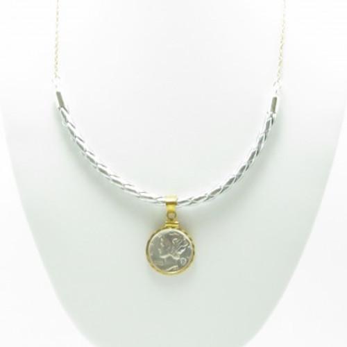 Diamond Mercury Dime Necklace (Silver Leather)