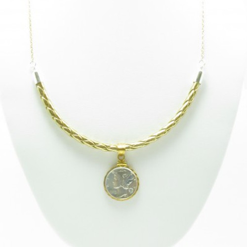 Diamond Mercury Dime Necklace (Gold Leather)