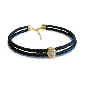 Gold  Pave Nut Double Leather Choker