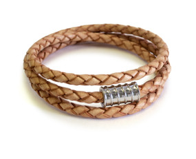 Triple Leather Wrap Silver Screw