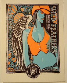 THE WILD FEATHERS - GAS MONKEY GARAGE 2014 - DALLAS - LINDSEY KUHN - TOUR POSTER