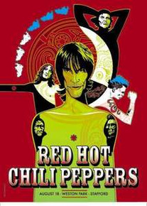 THE RED HOT CHILI PEPPERS - 2001 - STAFFORD - UK - KIEDIS - FLEA - TOUR POSTER