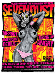 SEVENDUST - 2008- HOUSE OF BLUES - ORLANDO - TAPROOT - NYE- GREG REINEL STAINBOY