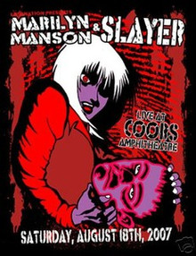 SLAYER - MARILYN MANSON - DENVER  2007 - POSTER- KUHN