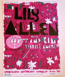 LILY ALLEN W/ MATT & KIM - BOWERY BALLROOM - 2009 - MYSPACE SECRET SHOW POSTER