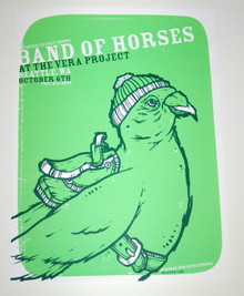 BAND OF HORSES - VERA PROJECT - GREEN -SEATTLE - MYSPACE SECRET SHOW POSTER
