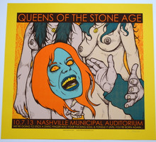 QUEENS OF THE STONE AGE - YELLOW - NASHVILLE  - 2013 - JERMAINE ROGERS - POSTER