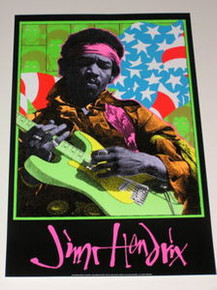 JIMI HENDRIX - FRANK KOZIK - BLACK LIGHT POSTER - 1995 -