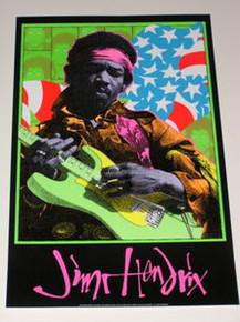 JIMI HENDRIX - FRANK KOZIK - BLACK LIGHT POSTER - 1995 -