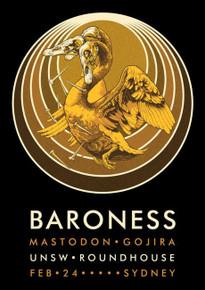 BARONESS - MASTODON - JOHN DYER BAIZLEY - GOJIRA - 2014 - SYDNEY  -TOUR POSTER