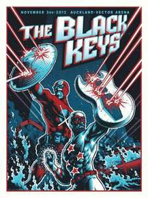 THE BLACK KEYS - 2012 - AUCKLAND   - AUSTRALIA  - SILKSCREEN -  TOUR POSTER