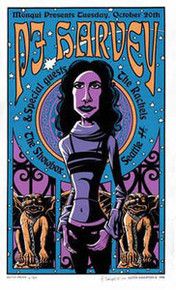 P J HARVEY - JUSTIN HAMPTON - SHADOWBOX -  SEATTLE - 1998 -  TOUR POSTER -
