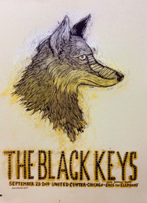 BLACK KEYS - 2014 - CHICAGO - UNITED CENTER- TURN BLUE- DAN GRZECA - TOUR POSTER
