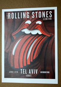 ROLLING STONES - 14 ON FIRE - TEL AVIV - ISRAEL - #396/500 -  TOUR POSTER